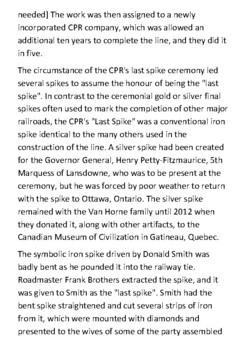 Last Spike (Canadian Pacific Railway) Handout