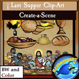 Last Supper Christian Clip-Art Set! 50 Pieces, BW and Color!