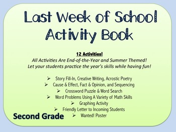 Last Week of School Activity Packet- Fun & Educational Activities (Second Grade)