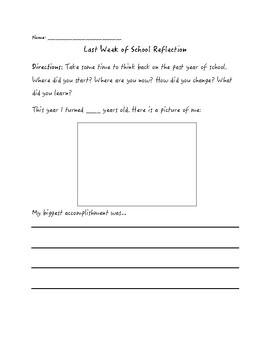 Last Week of School Reflection
