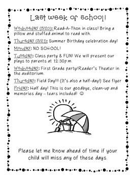 Last Week of School Schedule