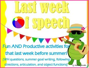 Last Week of Speech Activities