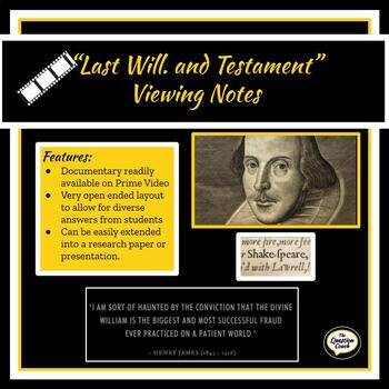 Last Will. and Testament Documentary Notes and Written Response