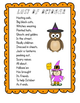 Last of October  A Fun  Halloween Poem Study