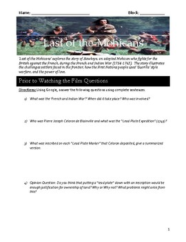 Last Of The Mohicans Worksheets & Teaching Resources   TpT