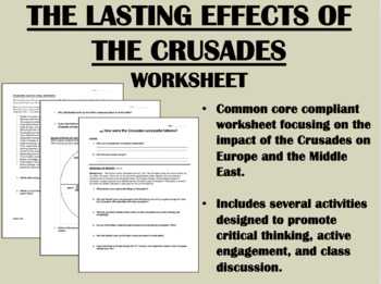 Lasting Effects of the Crusades worksheet - Kingdom of Heaven Common Core