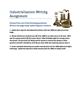 Late 1800s Industrialization Writing Assignment