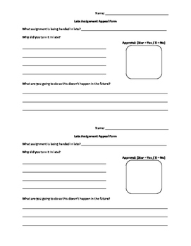 Late Assignment Form