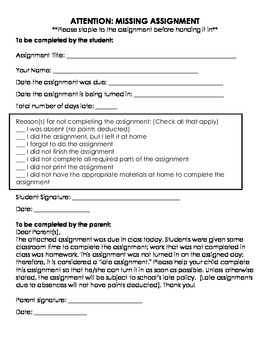 Late Assignment/Missing Assignment Form