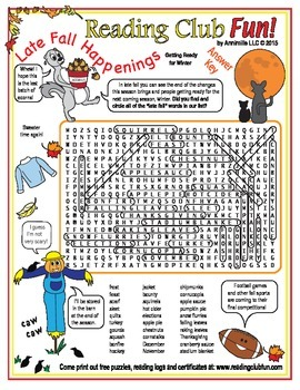 Free Late Fall Happenings Word Search Puzzle
