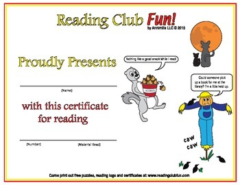 Late Fall Reading Log and Certificate Set