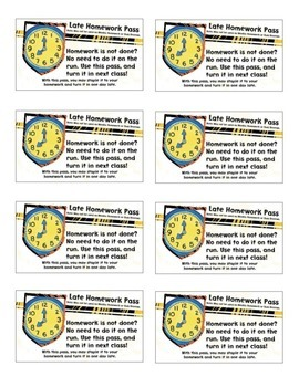 Late Homework Pass Printable