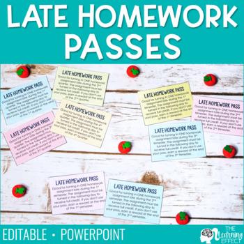 Late Homework Passes {Editable}