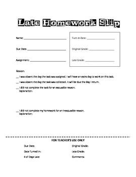 Late Homework Slip