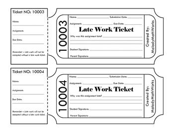 Late Homework Ticket/Pass