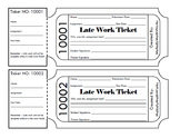 Late Homework Ticket/Pass - Fully EDITABLE edition