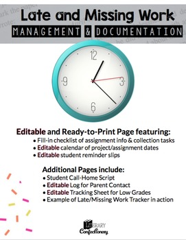 Late Work Documentation-Editable Grade Tracker, Parent Log, Checklist