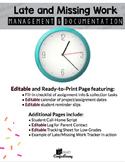 Late Work Documentation-Editable Grade Tracker, Parent Log