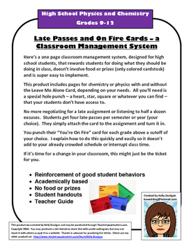 Late Passes & Fire Cards – Classroom Management for HS Che