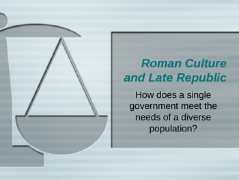 Late Roman Republic Culture: How a single gov. meet the needs of diverse pop.?