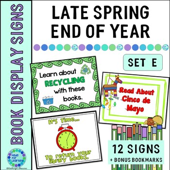 Book Display Signs for the Library or Classroom: Set E Late Spring/End of Year