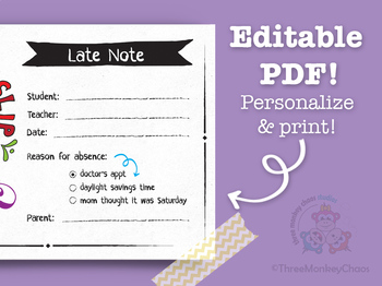 Late / Tardy Note | Note for Teacher | School Excuse Note - Editable PDF