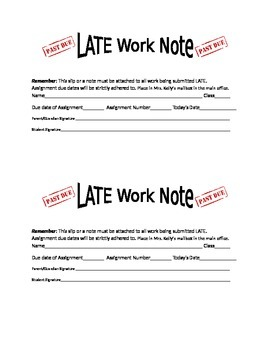 Late Work Notice Slip