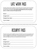 Late Work & Resubmission Passes!