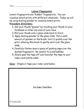 Latent Fingerprint Lab - Dusting and Lifting Prints