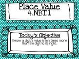 Place Value 4.NBT.1 Powerpoint lesson* EDITABLE*