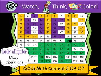 Later Alligator Multiplication Practice - Watch, Think, Co