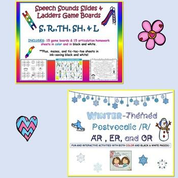 Later Speech Sounds Bundle:/CH/, /L/ & /L/ Blends, /R/, /S/, /SH/, & /TH/