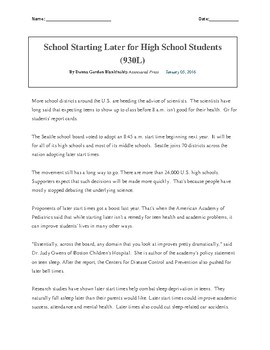 Later Start Times for High School Students Article - Back to School