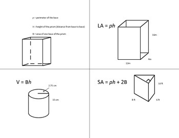 Lateral Area, Surface Area, Volume Foldable