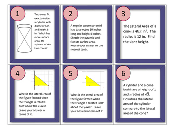 Lateral Area and Surface Area Task Cards