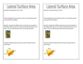 Lateral Surface Area Notes