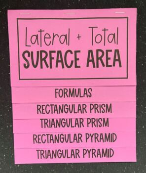 Lateral & Total Surface Area of Prisms & Pyramids (Foldable)
