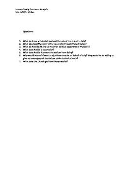 Lateran Treaties Document Analysis