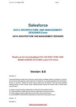 Latest DATA ARCHITECTURE AND MANAGEMENT DESIGNER Dumps 2019