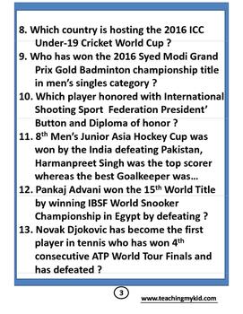 Sports Awareness  2015-16