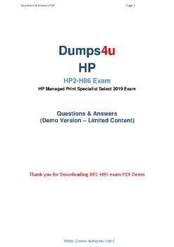 Latest HP2-H86 Dumps 2019 - HP2-H86 Actual Pdf Questions