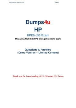 Latest HPE0-J58 Dumps 2019 - HPE0-J58 Pdf Questions