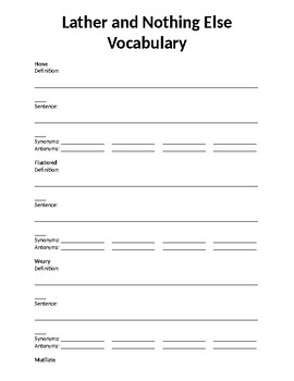 Lather and Nothing Else Vocabulary Packet