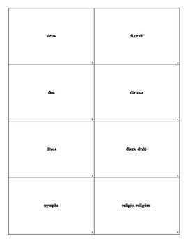 Flash Cards for the Latin 1400 Vocabulary Based Upon the Diederich List