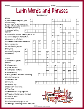 Latin Words Crossword Puzzle
