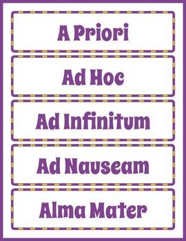 Latin Word Wall