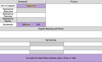 Latin Adjective Vocabulary, Declining, and Writing Practice Sheet