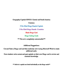 Latin America Capitals BINGO- Geography
