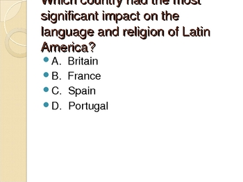 Latin America Daily Warm-Ups Test Prep Questions