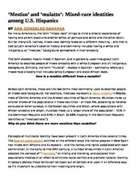 Latin America Ethnic Groups Informational Text